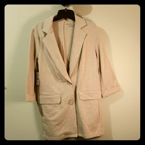 Oatmeal M NWT ny&co 3/4 cotton blazer jacket
